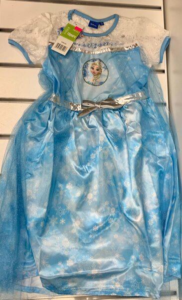 Kleita ar īsām rokām 10 gadi/140cm/Zila ar baltu/Frozen