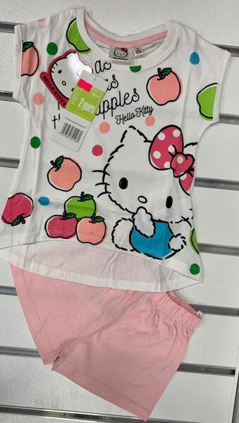 Vasaras komplekts meitenēm 2 gadi/92cm/Hello Kitty/Balts krekliņš ar ābolīšiem+rozā šorti