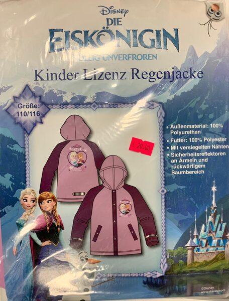 Lietus jaka meitenēm/110-116cm/Rozā ar bordo krāsas rokām/Frozen.