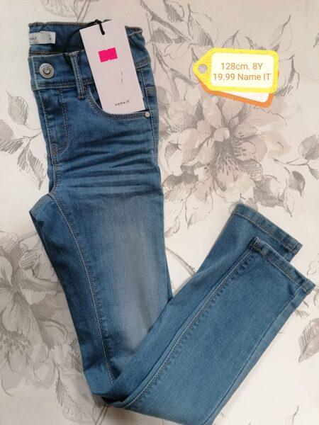 Džinsa bikses meitenēm 128cm/8 gadi/Gaiši zilas ar balinājumu/Name it