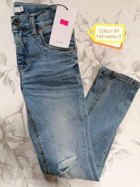 Džinsa bikses meitenēm 128cm/8 gadi/Zilas ar balinājumu/plēstie/Name it.