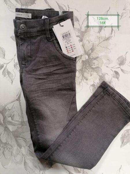 Džinsa bikses meitenēm/128cm/Tumši pelēcīgas, melnas ar balinātiem ceļiem/Name it