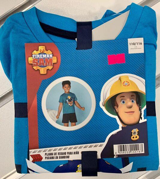 Vasaras komplekts zēniem 5-6 gadi/110-116cm/Tumši šorti+zils krekliņš ar ugunsdzēsēju/Fireman Sam.