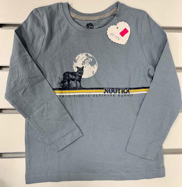 Garroku krekls zēniem 98-104cm/Gaiši zils ar vilku un mēnesi/Nootka