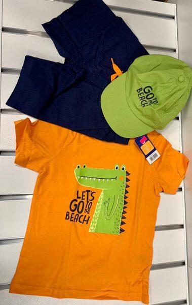Vasaras komplekts zēniem 5-6 gadi/110-116cm/Tumši šorti+oranžš krekliņš ar krokodilu+zaļa kepka.