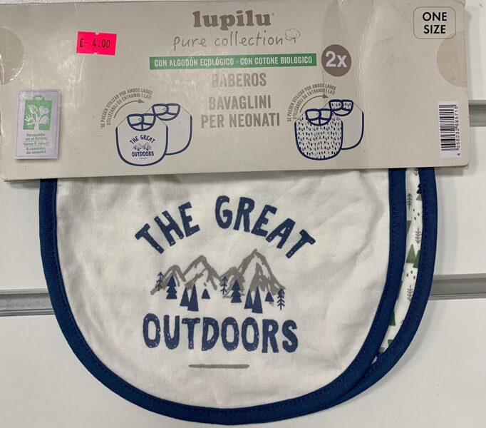 Lacīte (priiekšautiņš) 2gb/Balts ar zilām maliņām/The great outdoors/Lupilu.