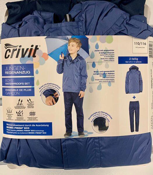Lietus jaka+bikses zēniem 110-116cm/Gaiši zila jaka ar tumši zilām biksēm