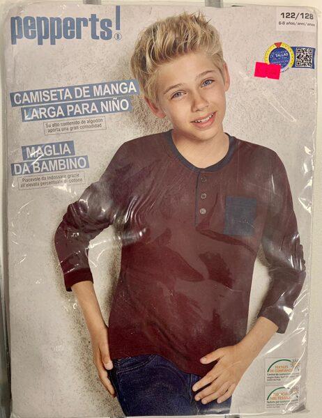 Garroku krekls zēniem 122-128cm/Bordo krāsā ar kabatu/Pepperts