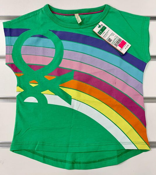 Īsroku krekls 1-2 gadi/zaļš ar varavīksni.