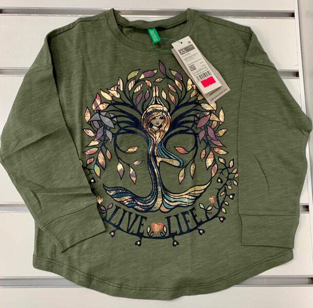 Garroku krekls 4-5 gadi/Haki zaļš ar nāru un koka lapām/Live life