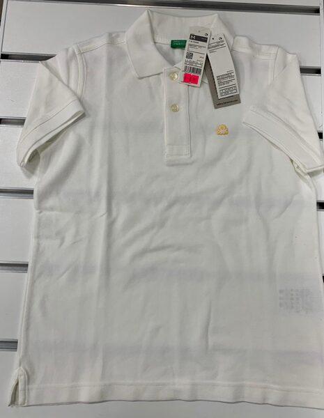 Īsroku krekls 7-8 gadi/Balts ar apkakli un pogājamu augšdaļu