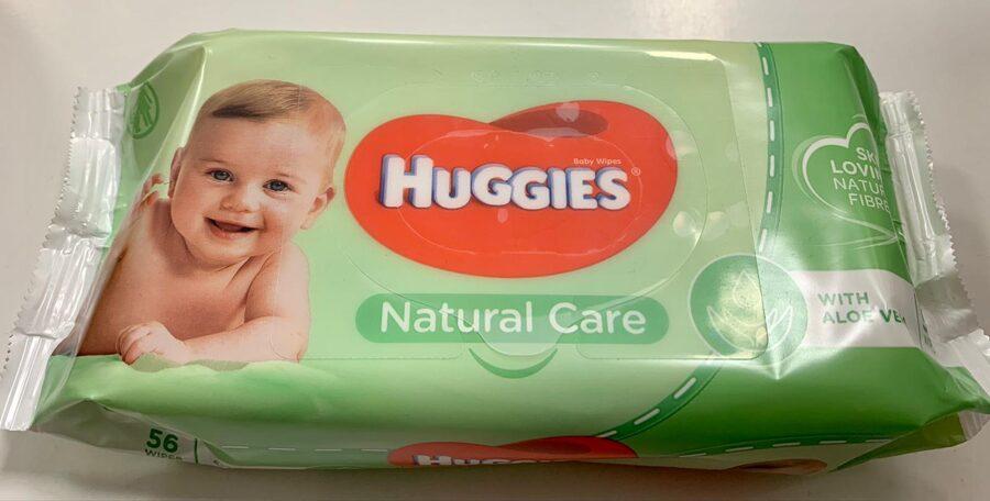 Huggies Natural Care mitrās salvetes/56gb/With Aloe vera
