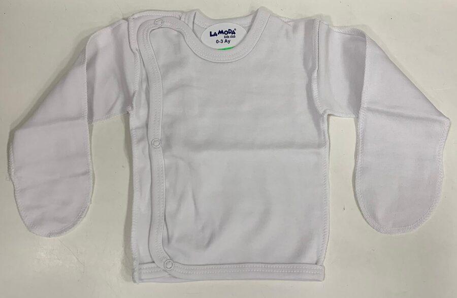 Garroku krekliņš jaundzimušajiem/0-3 mēn./56cm/Balts, aizlokāmas rociņas/LaModa