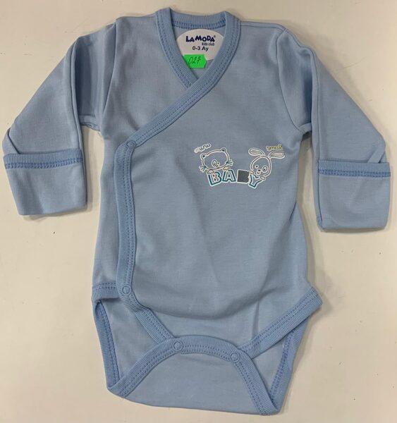 Garroku body 0-3 mēn./Zils ar uzrakstu baby, pogājams priekšpusē, aizlokāmas rociņas/LaModa