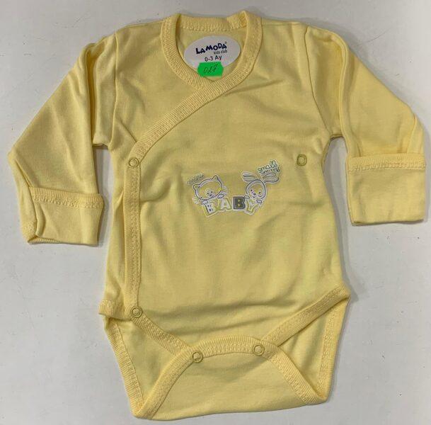 Garroku body 0-3 mēn./Dzeltens ar uzrakstu baby/pogājams priekšpusē+aizlokāmas rociņas.
