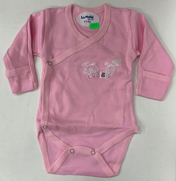 Garroku body 0-3 mēn./Rozā ar uzrakstu baby/pogājams priekšpusē+aizlokāmas rociņas