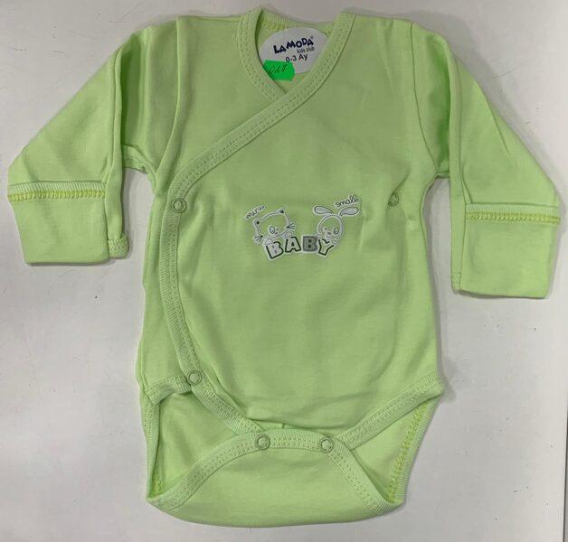 Garroku body 0-3 mēn./Gaiši zaļš ar uzrakstu baby/pogājams priekšpusē+aizlokāmas rociņas.