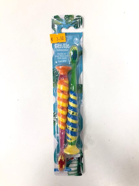 Zobu birstes Gentle 2gb/3-6 gadi/Zaļa ar zilu+Dzeltena ar oranžu.