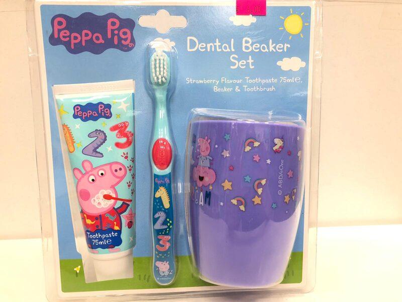 Zobu kopšanas komplekts Peppa Pig 3+/Komplektā zobu birste+zobu pasta+mutes skalošanas krūze