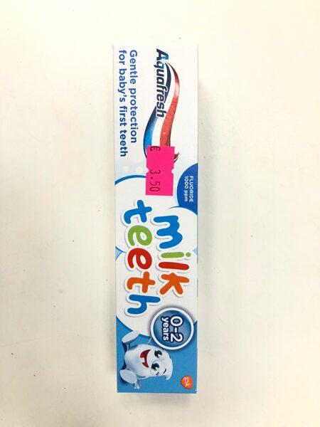 Zobu pasta Aquafresh/0-2 gadi/Milk teeth/Kastītē.