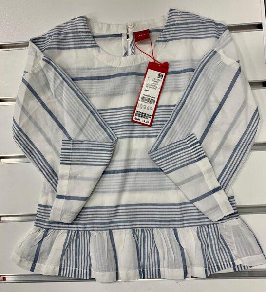 Garroku krekls ar volānu/4-6 gadi/Balts ar gaiši zilām svītrām.