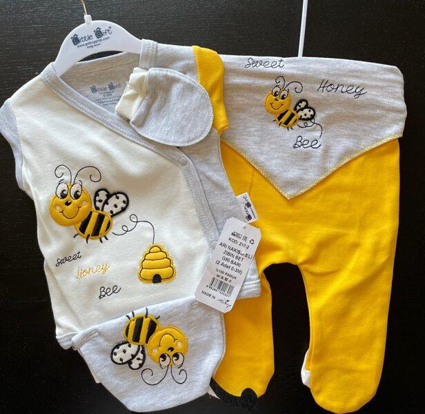 Komplekts jaundzimušajiem/0-3 mēn./Dzeltenas bikses+garroku krekliņš pelēks ar baltu un dzeltenām rociņām+pelēka lacīte+pelēki cimdiņi un cepurīte/Kokvilna/Turcija