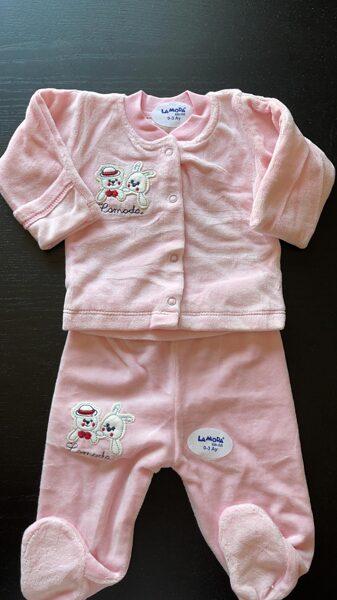 Komplekts 0-3 mēn./garroku jaciņa+garās bikses ar pēdiņām ciet/rozā/LaModa
