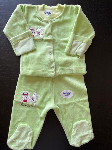 Komplekts 0-3 mēn./garroku jaciņa+garās bikses ar pēdiņām ciet/gaiši zaļš/LaModa