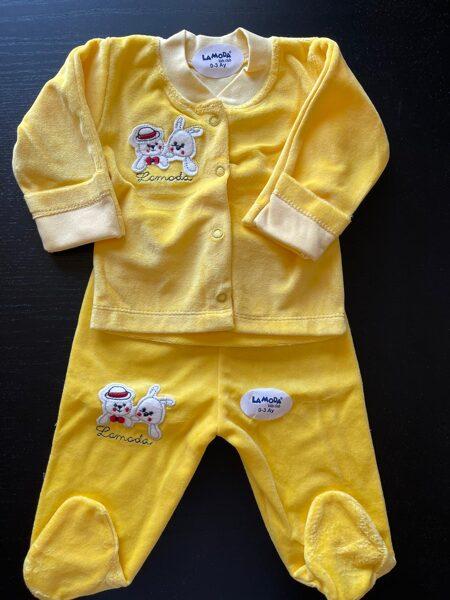 Komplekts 0-3 mēn./garroku jaciņa+garās bikses ar pēdiņām ciet/dzeltens/LaModa