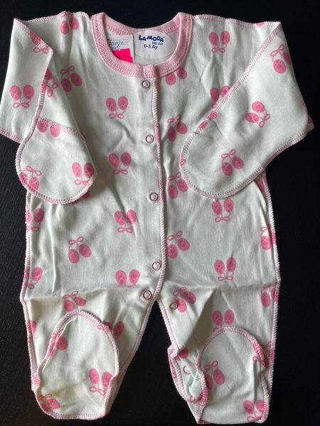 Slipijs ar vīlēm uz āru/0-3 mēn./balts ar rozā pastaliņām, aizlokāmas rociņas/100% kokvilna/LaModa