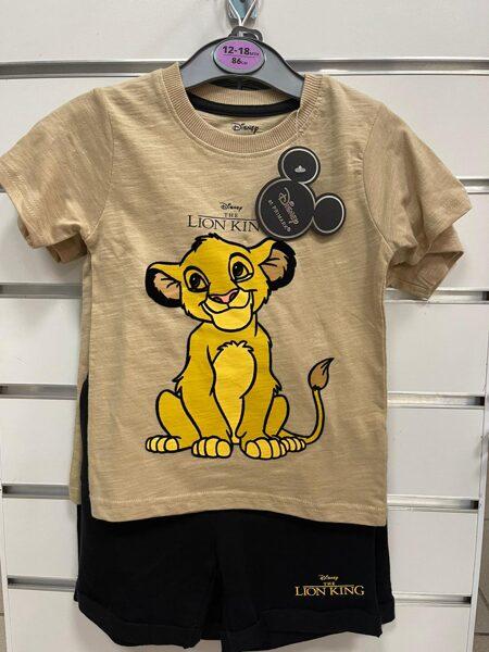 Vasaras komplekts zēniem Lion King/12-18 mēn./86cm/Melni šorti+brūns īsroku krekls ar lauvu.