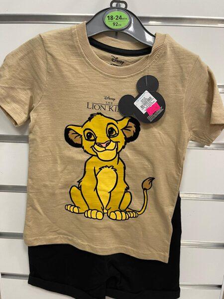 Vasaras komplekts zēniem 18-24 mēn./92cm/Melni šorti+īsroku krekls/Lion king