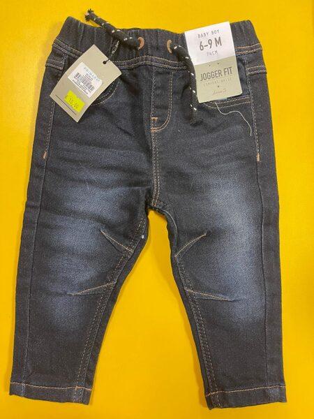 Džinsa bikses zēniem/6-9 mēn./74cm/Tumši zilas ar gumijotu jostas daļu/Jogger Fit.