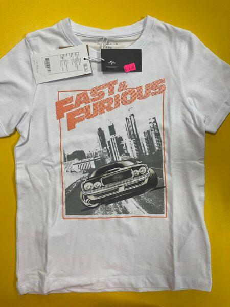 Īsroku krekls 7-8 gadi/122-128cm/Balts/Fast&Furious.