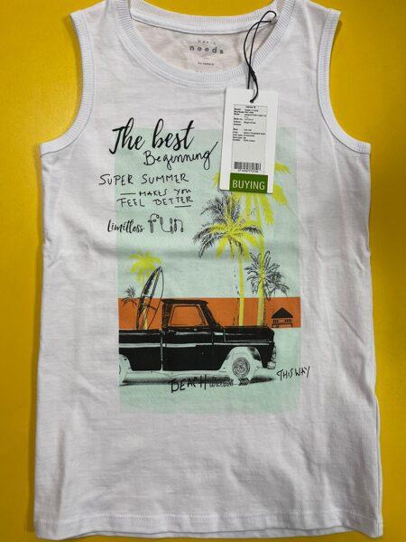Bezroku krekls 122-128cm/Balts ar palmām un auto/Name It