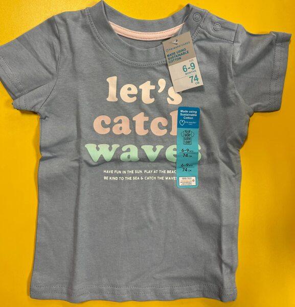 Īsroku krekls 6-9 mēn./74cm/Pelēks/Lets catcle waves