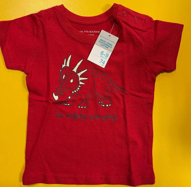 Īsroku krekls 6-9 mēn./74cm/Sarkans ar dinozauru