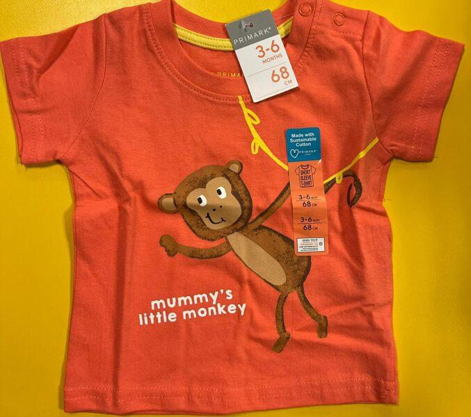 Īsroku krekls 3-6 mēn./68cm/Sarkanīgi oranžs ar brūnu mērkaķīti/Mummys litte monkey