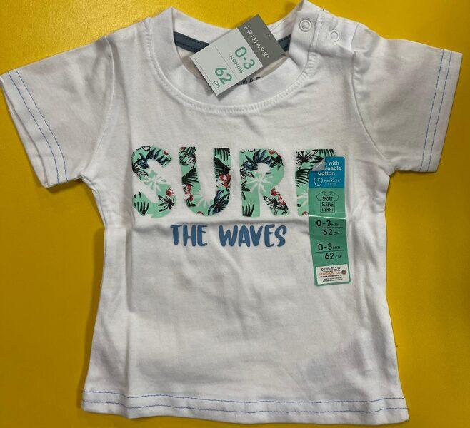 Īsroku krekls 0-3 mēn./62cm/Balts/Surf the waves