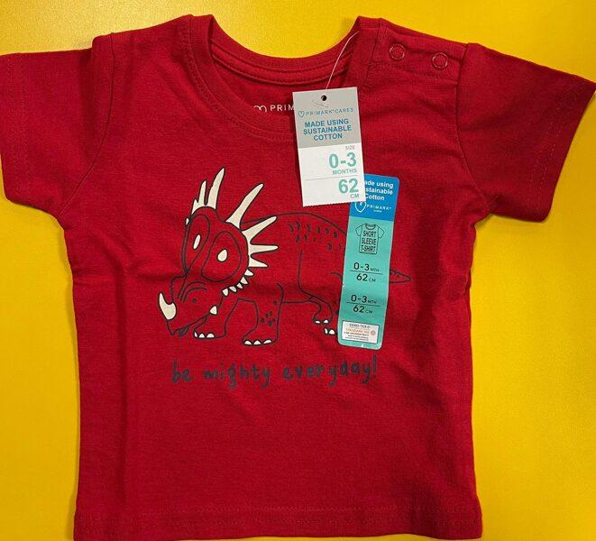 Īsroku krekls 0-3 mēn./62cm/Sarkans ar dinozauru