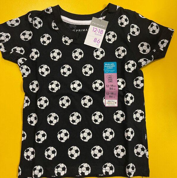 Īsroku krekls 12-18 mēn./86cm/Melns ar baltām futbolbumbām