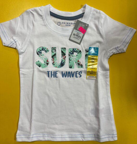 Īsroku krekls 9-12 mēn./80cm/Balts/Surf the waves