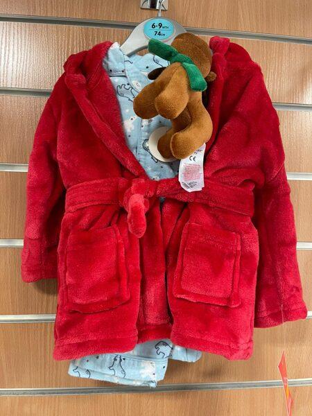 Siltais halātiņš+Pidžama/6-9 mēn./74cm/Sarkans halāts+zila pidžama polārlāčiem.