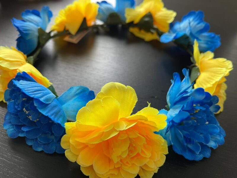 Ziedu vainadziņš/ar ziliem un dzelteniem ziediem.