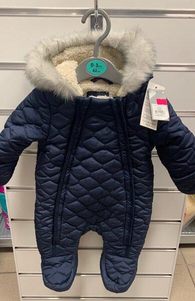 Ziemas kombinezons/0-3 mēn./62cm/Zils ar pūkainu kapuci