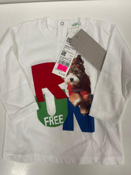 Garroku krekls 68cm/Balts ar sunīti/Run free