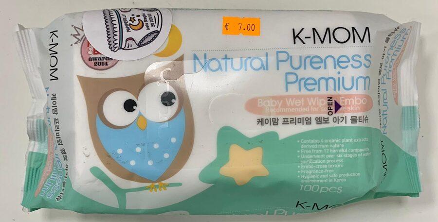 K-MOM mitrās salvetes bez vāciņa ar zaļu pūci 100 gb