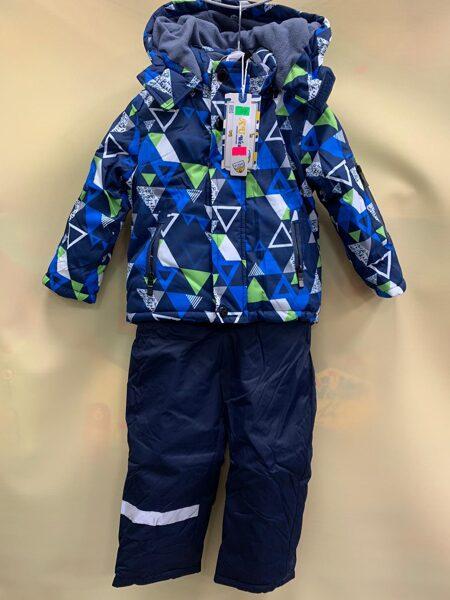 Kombinzons puišu atsevišķais/silta ziema/sintepons/Zila jaka ar zaļiem elementiem/bikses zilas 98 cm