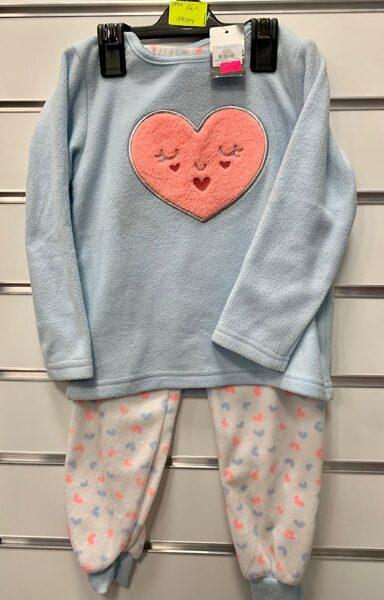 Pidžama siltā/104cm/gaiši zila augša ar sirdi+garās bikses baltas ar sirsniņām.