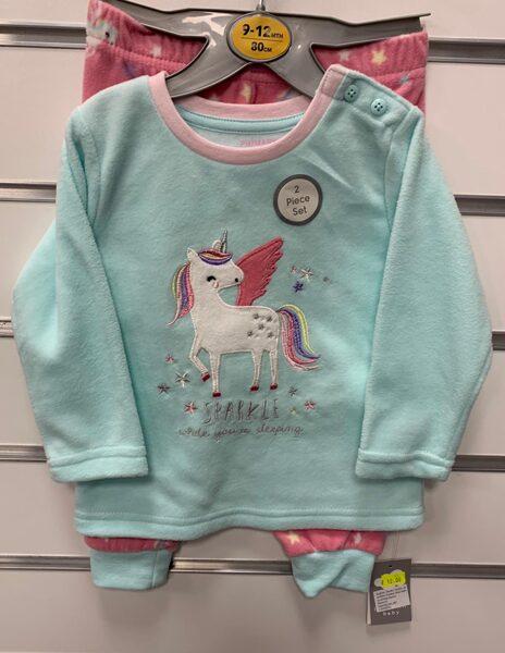 Garā pidžama 9-12 mēn./80cm/Gaiši zils ar vienradzi plus rozā garās bikses ar zvaigznēm.